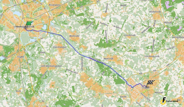 The route as it is shown in the route planner of the Cyclists' Union.