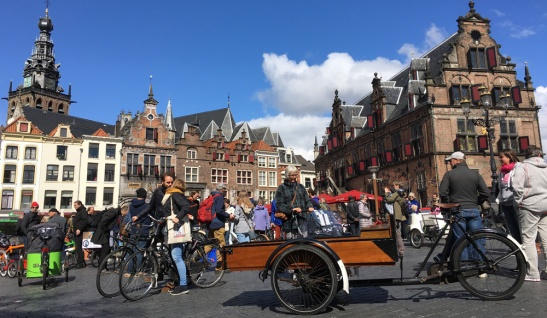 The starting point of the Cargo Bike Parade at Grote Markt in Nijmegen.