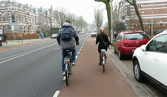 Nijmgen also has some main streets with on-street cycle lanes (obstructed in the distance).