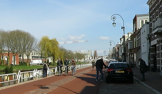 Leidseweg after the reconstruction. The red asphalt was used against the will of the residents who claimed it wouldn't look right in their historic street.