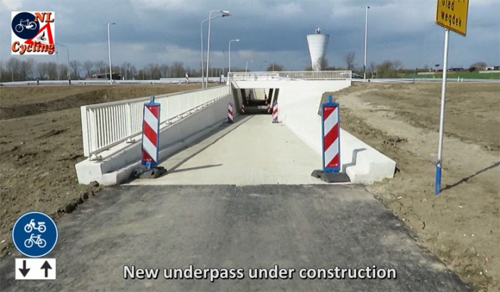 The new underpass for cycling to cross the relocated N322 provincial road around Zaltbommel.
