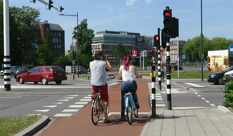 Image result for Netherland, there are specific traffic lanes for the bicycle.