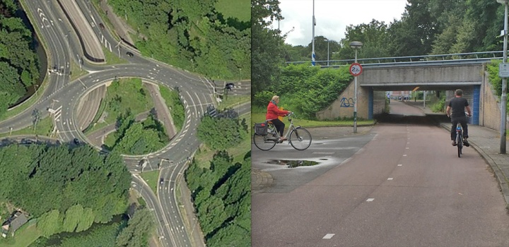 No unnecessary detours in the 73-year-old Utrecht Berekuil. The location of the underpasses makes the cycleway almost straight.