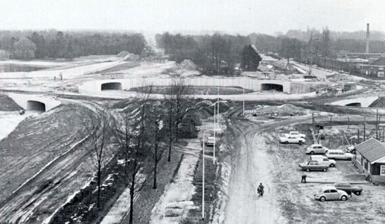 The intersection during construction in 1972/1973.