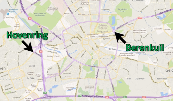 """Location of the """"Berenkuil"""" and the """"Hovernring"""" in Eindhoven."""
