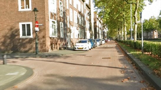An ordinary service street in the before situation. With a speed limit of 30km/h. The surface is brick pavers.
