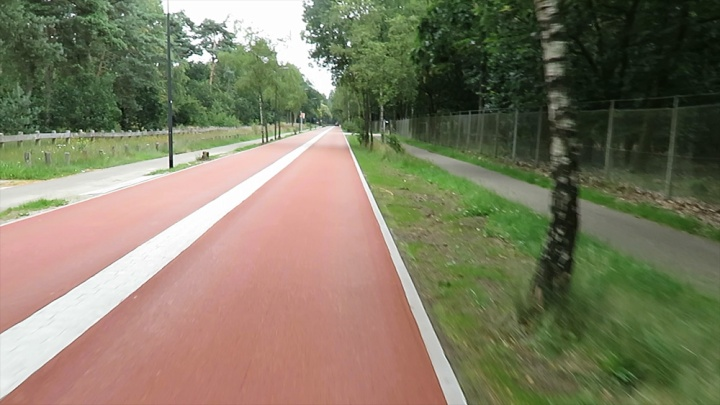 Waterleidingstraat after reconstruction. It is now a cycle street where cars are guest. The former manditory cycleways have become non-mandatory cycleways.