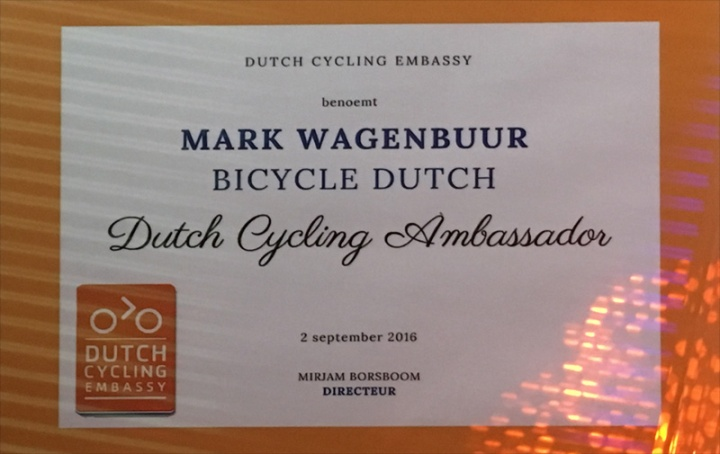 "The certificate in which I am appointed ""Dutch Cycling Ambassador"" by the Dutch Cycling Embassy."