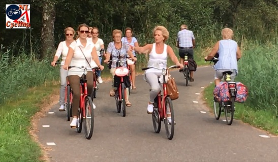 People also cycled in larger groups on an identical rental bicycle.