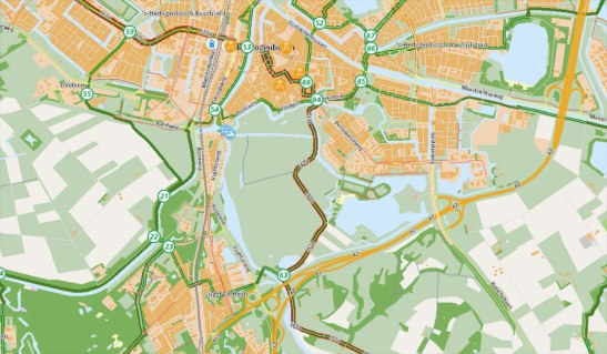 "The 's-Hertogenbosch city 'centre' actually lies on the edge of the city. Just south of it we find the nature reserve: ""Bossche Broek"" with a long distance cycle route through the middle of it."