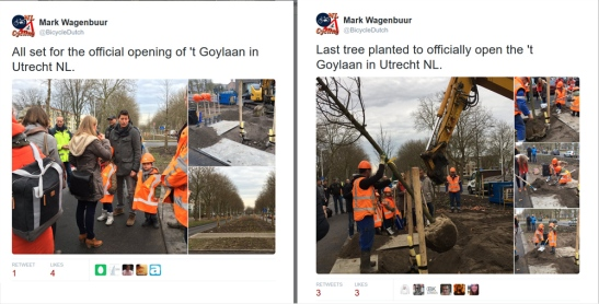 Tweets from the official opening. The planting of the last tree in the median.