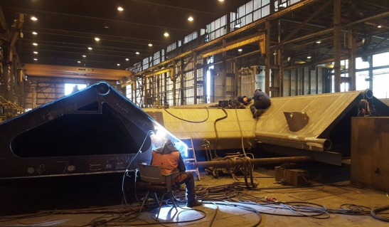 The construction in a steel factory in Friesland. Picture courtesey of .. steel.