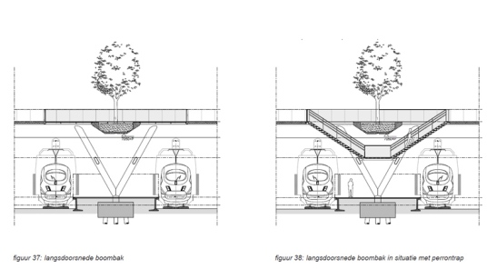The design of the bridge is completely prepared for the stairs to the platforms.