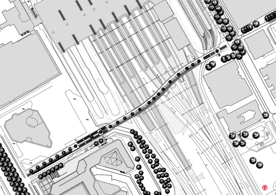 A map of the new bridge. It is clearly visible how little space there was for this bridge. Especially on the east side (right on the picture). Picture courtesy of the municipality of Utrecht.