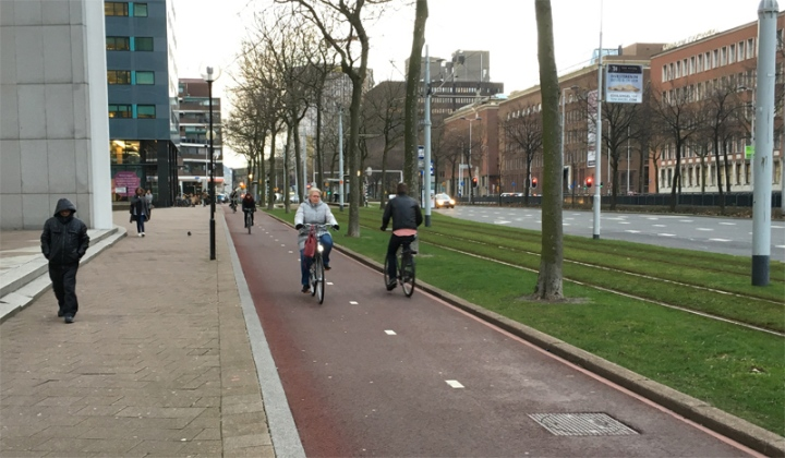 Cycling in Rotterdam is very convenient. Wide bi-directional cycle tracks with smooth red asphalt take you everywhere. Note the tram tracks in the grass right next to the cycle track.