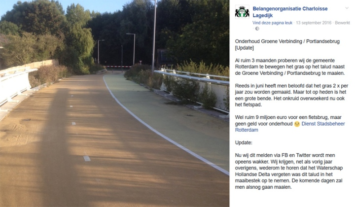 2016: That the grass and shrubs grow so well was also a problem. Only after complaints by residents the city of Rotterdam cut away the green overgrowing the access ramp of the bridge. Can someone also ask them to hose the bridge someday soon?