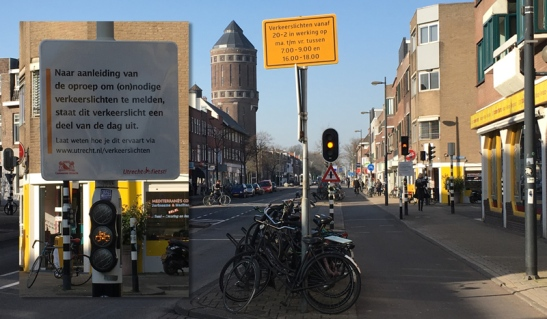 Amsterdamsestraatweg. These signals only work during peak hours. The rest of the day they blink yellow. People have to take care but the lights are off most of the time.