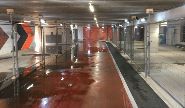We can hope the contractor is also resourseful to solve the drainage problem: the parking garage was a little wet.