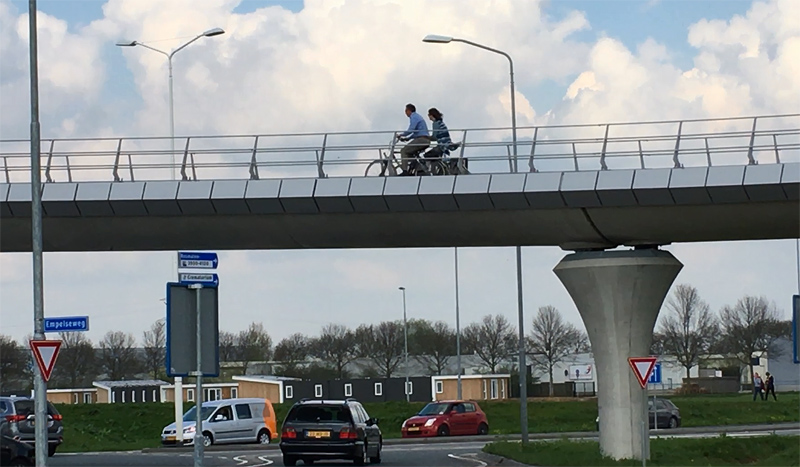 riding on a bicycle overpass bicycle dutch